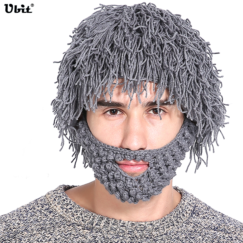 Ubit Wireless Women Men's Knit Bearded Music Hat Wig Winter Warm Ski Mask Hobo Mad Scientist Beanie Cap Bluetooth headphones men s winter warm black full face cover three holes mask cap beanie hat 4vqb