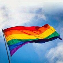 Bandeira do arco-íris colorido paz bandeiras poliéster lésbica gay desfile bandeiras bandeira lgbt orgulho lgbt bandeira decoração de casa 3 tamanhos