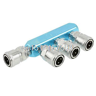 Piping Fitting 4 Way Multi Connector Air Hose Pass Quick Coupler three way air pass quick coupler connector navy blue