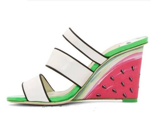 Nouveautés mode pastèque sandales à talons compensées découpe sangle femmes été sandales grande taille 34-42 robe chaussures femme livraison gratuite