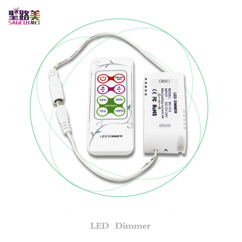 BC-312-4A 8 keys RF remote LED Dimmer DC12V - 24V CV PWM Dimmer Controller for SMD 5050 single color LED Strip Light tape ribbon dc12v 4a 4ch led panel digital touch screen dimmer controller home wall light switch for rgbw led strip tape ribbon 3 channel