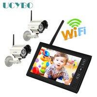 7 ЖК дисплей 4CH беспроводной камера видеонаблюдения с WiFi DVR цифровой видео охранных системы открытый набор для слежения за младенцем sd карты
