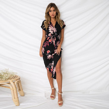 Summer Women Dress 2019 Spring Vestido Short Sleeve Casual Asymmetrical New Arrival