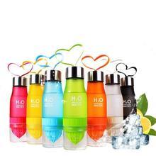 Creative Fruit Juice Infuser Water Bottle 650ml H2O Plastic Portable Lemon Juice