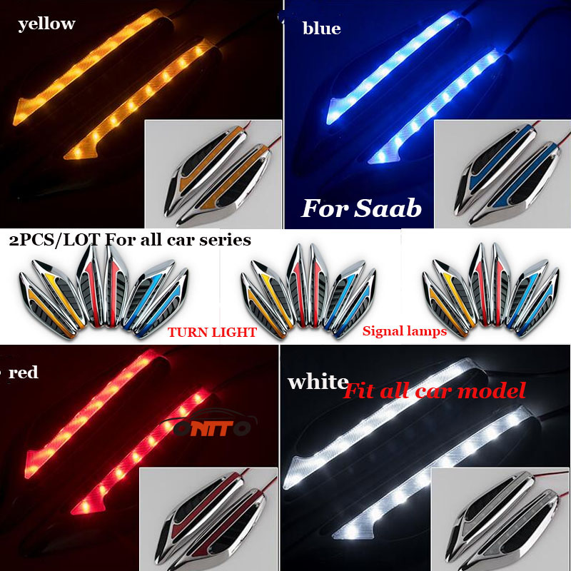 Car-styling universal 12v LED 2pcs /lot car side turn signal light indicator Blade Shape Fender sticker Side Lamps Good quality