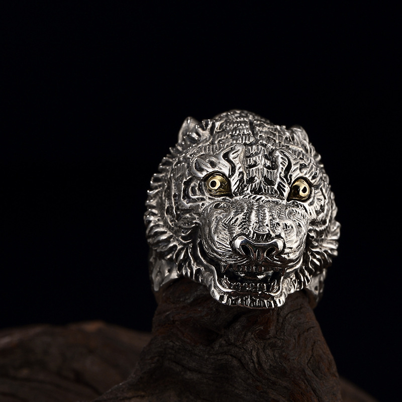 S925 silver Thai silver retro decoration animal ring opening men's silver ring wholesale domineering personality