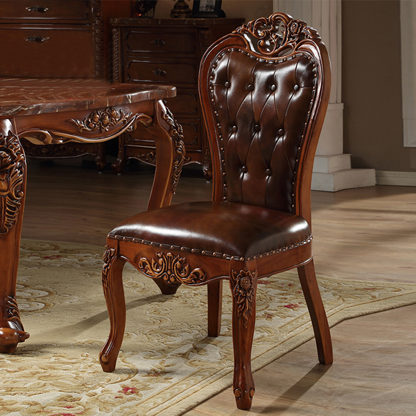 Charmant American Style Exquisite Workmanship Solid Wooden Carving And High Quality  Genuine Leather Dining Chair