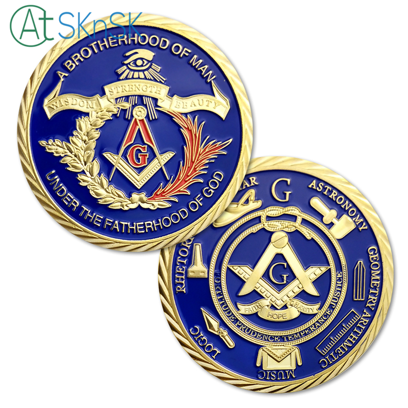 5pcs/lot Masonic Freemasonry coins A brotherhood of man challenge coin 40*3mm iron with gold plated masonic coins collectibles