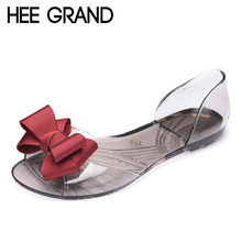 hee grand 2017  women jelly sandals sweet bowtie flat shoes woman slip on summer jelly shoes 4 colors size 35-40 xwz3710