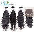 Top Quality Hair Peruvian Virgin Hair With Closure Peruvian Deep Wave 3 Bundles With Deep Wave Closure Free Ship By DHL
