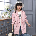 Children's Clothing Female Child Autumn Medium-long 2016 Solid Color long-sleeve all-match Fashion Child Trench Outerwear