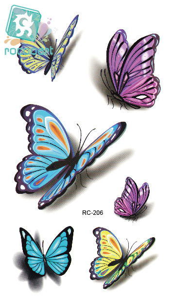 Rocooart RC2239 Body Art Water Transfer Fake Tattoo Sticker Temporary Tattoo Sticker Blue Black Wind Blown Feathers Taty Tatoo 16