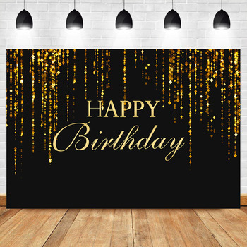 NeoBack Birthday Party Banner Photography Background Black Sparkly Gold Glitter Decorations Backdrop Photocall Studio Photoshoot