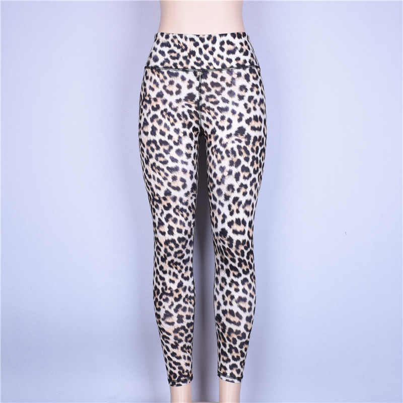 Hugcitar high waist leopard Sexy Push Up Leggings 2018 summer women Workout Polyester fitness trousers Activewear Slim casual pa 6