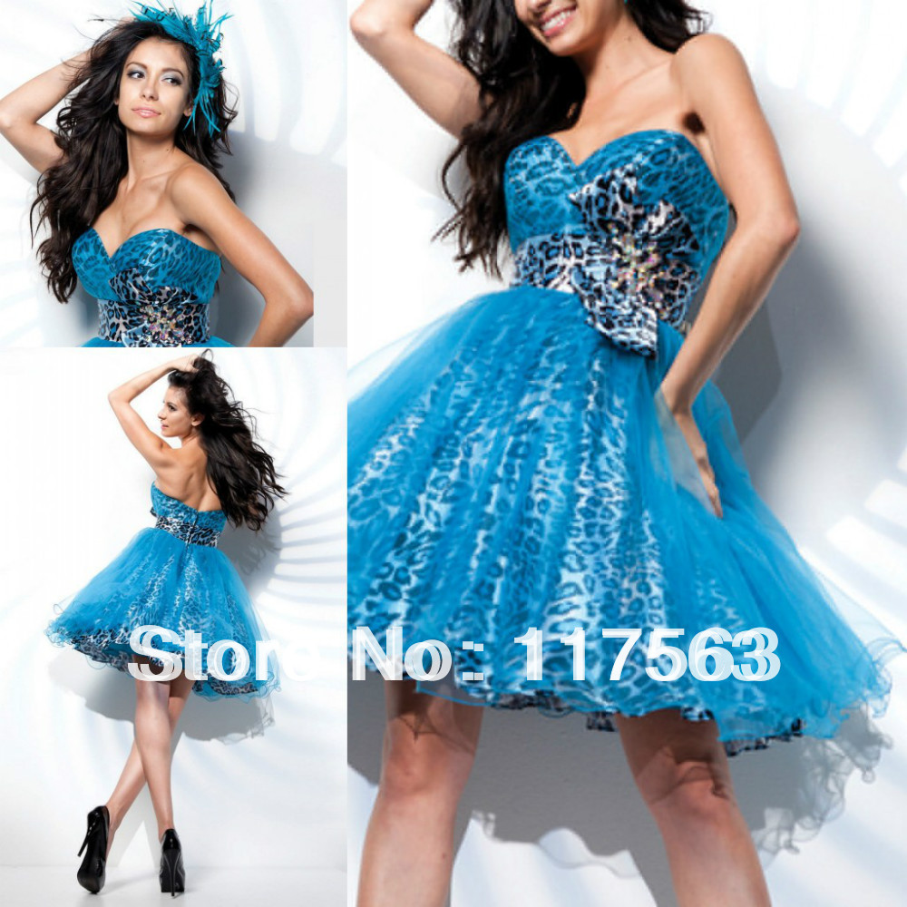 Turquoise and cheetah print prom dress - Prom dress style