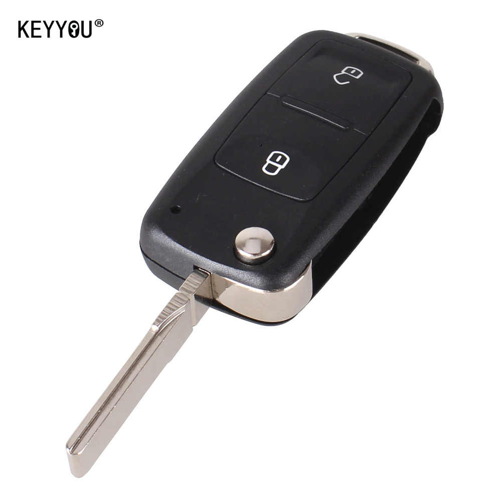KEYYOU NEW 2 Button Uncut Folding Flip Remote Key Replacement Case FOB Shell For Vw VOLKSWAGEN Transporter T5 Polo G