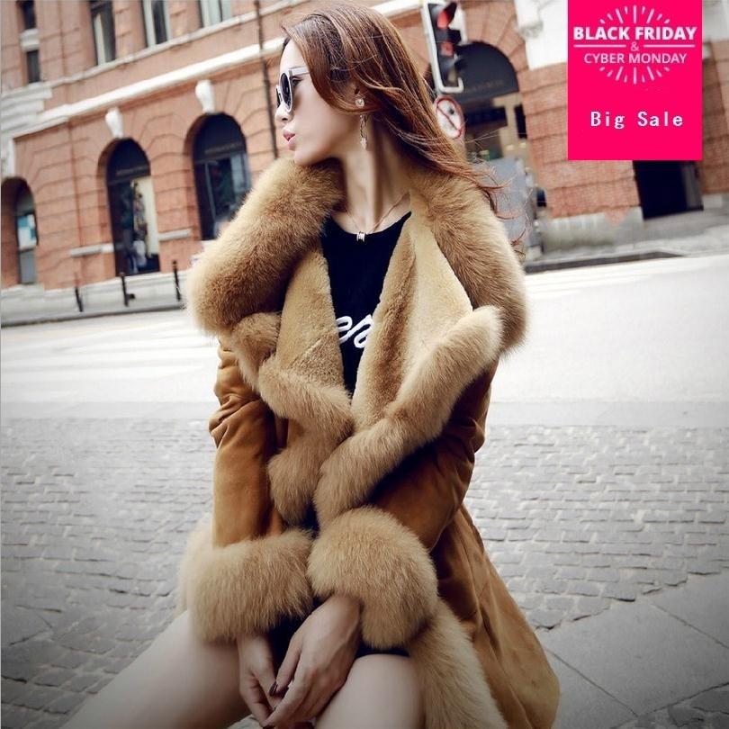 Fashion Winter Women Faux Fur Coat Leather Big Turn-down Fox Collar Long Jacket Khaki Gray Color WJ293