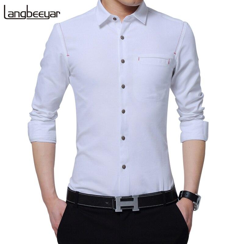 2017 New Fashion Brand Clothing Men Shirt Long Sleeve Solid Color Spring Slim Fit Shirt High-quality Casual Shirts Men M-5XL