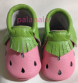 New designs pink and green strawberry Genuine Leather Baby Moccasins bow fringe Baby girls dress First Walker newborn shoes
