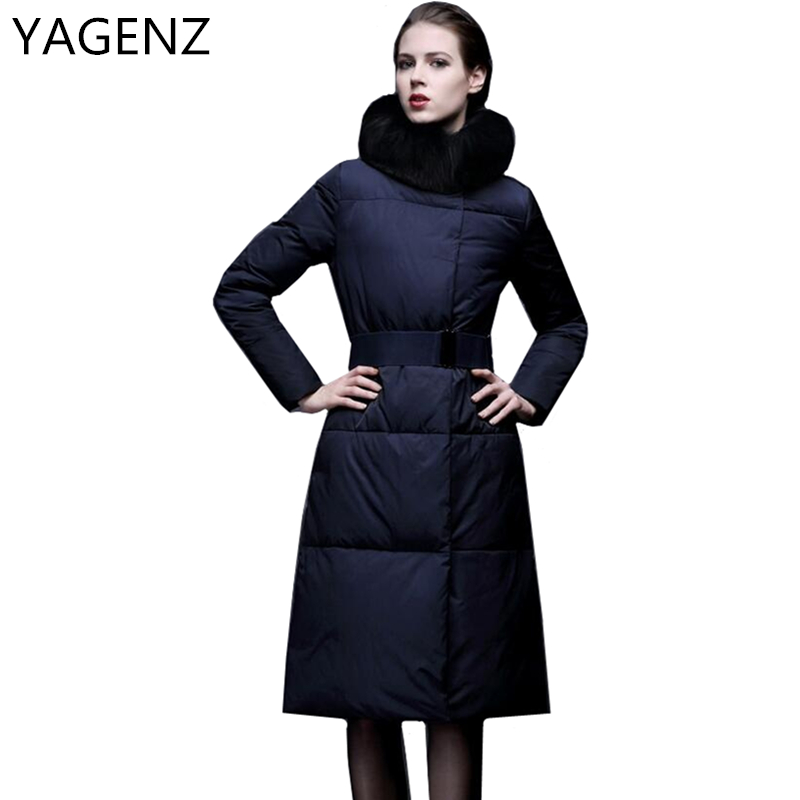 YAGENZ 2017 Winter Women's Jackets Coats Fashion Slim Women Parkas Fur collar Jacket High Quality Thicker Warm Winter Long Coat yagenz 2017 down cotton winter parkas women jacket coats fashion slim big fur collar overcoat warm jacket female student coat