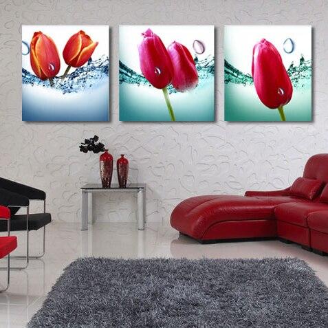 ᐊresim Duvar Sanat 3 Adet Duvar Boyama Lale Cicek Ev Wall Art