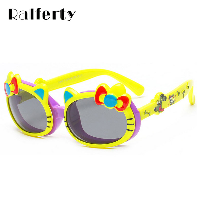 b6f9c746883a9 Ralferty Criança Gato Bonito Flip Up Óculos Polarizados Crianças Bebê Dos  Desenhos Animados Infantil TR90 TAC