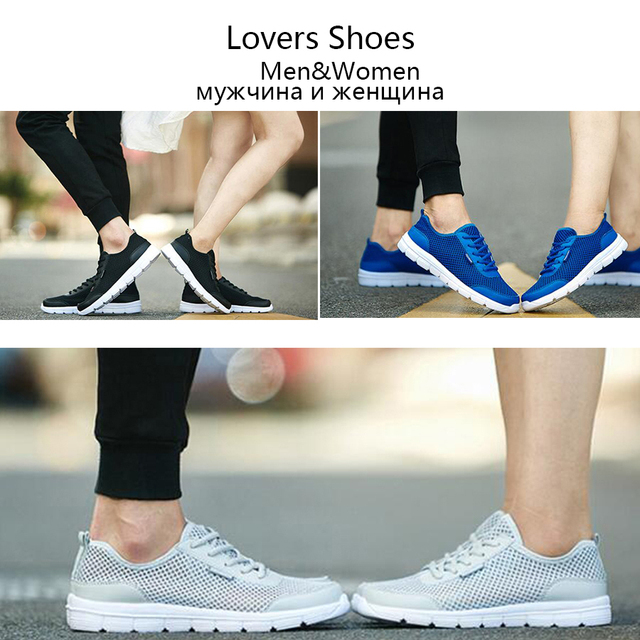MLANXEUE Men Shoes Summer Sneakers Breathable Fashion Mesh Casual Shoes Couple Lover Mens Mesh Shoes  Big Plus Size Lace up Shoe
