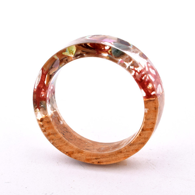 Handmade Flowers Wood Resin Ring13