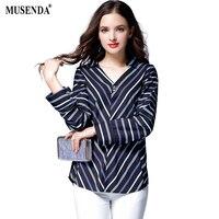 MUSENDA Plus Size Women Blue Striped Chiffon V Neck Long Sleeve Blouse 2017 Autumn Female Office
