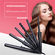 Ceramic Pro Curling Iron Wand Hair Curler Professional Interchangeable Barrel To