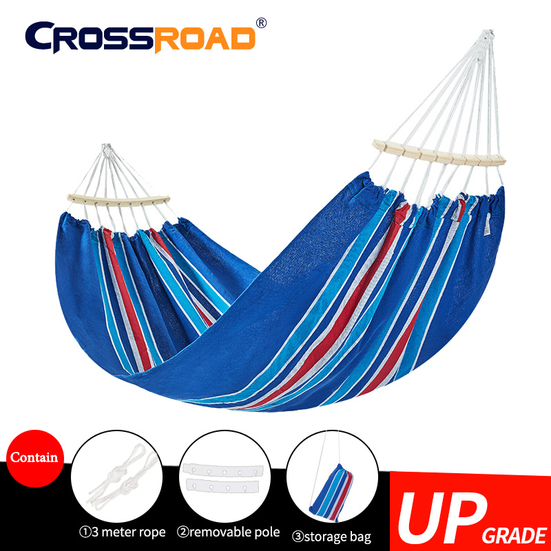 Spanish warehouse DoubleHammock with Removable stick200x150cm Garden swing Sleeping bed Outdoor Camping hanging chair Portable title=