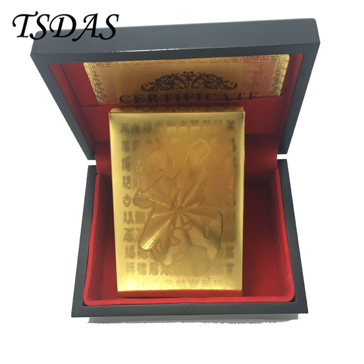24K Gold Foil Plated Poker Card Playing Card Game With FU Letter, Luxury Poker Card Souvenir Gifts With Wooden Box