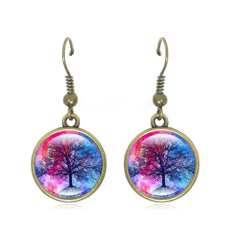 832e554bd 1Pair Fashion tree of Life Drop Earrings art Glass Cabochon Jewelry Antique  bronze Women Earrings Gift Girl