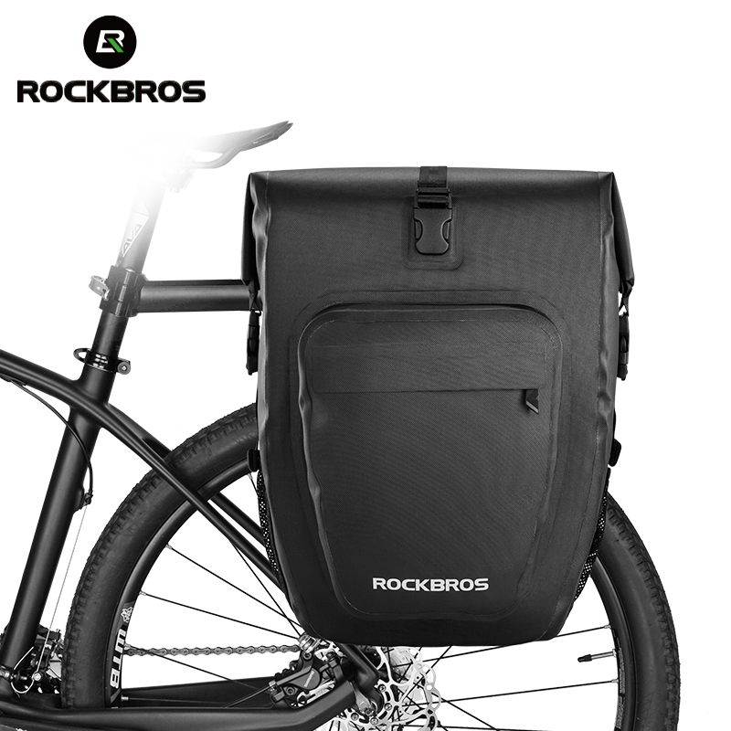 ROCKBROS Waterproof Foldable Cycling MTB Bike Bags Reflective Panniers Long Travel Luggage Bag 27L Bicycle