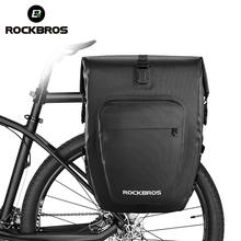 ROCKBROS Waterproof Foldable Cycling MTB Bike Bags Reflective Panniers Long Travel Luggage Bag 27L Bicycle Bags цена