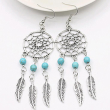 FAMSHIN 2016 New fashion jewelry vintage silver plated Dream catcher earring gift for women girl Free