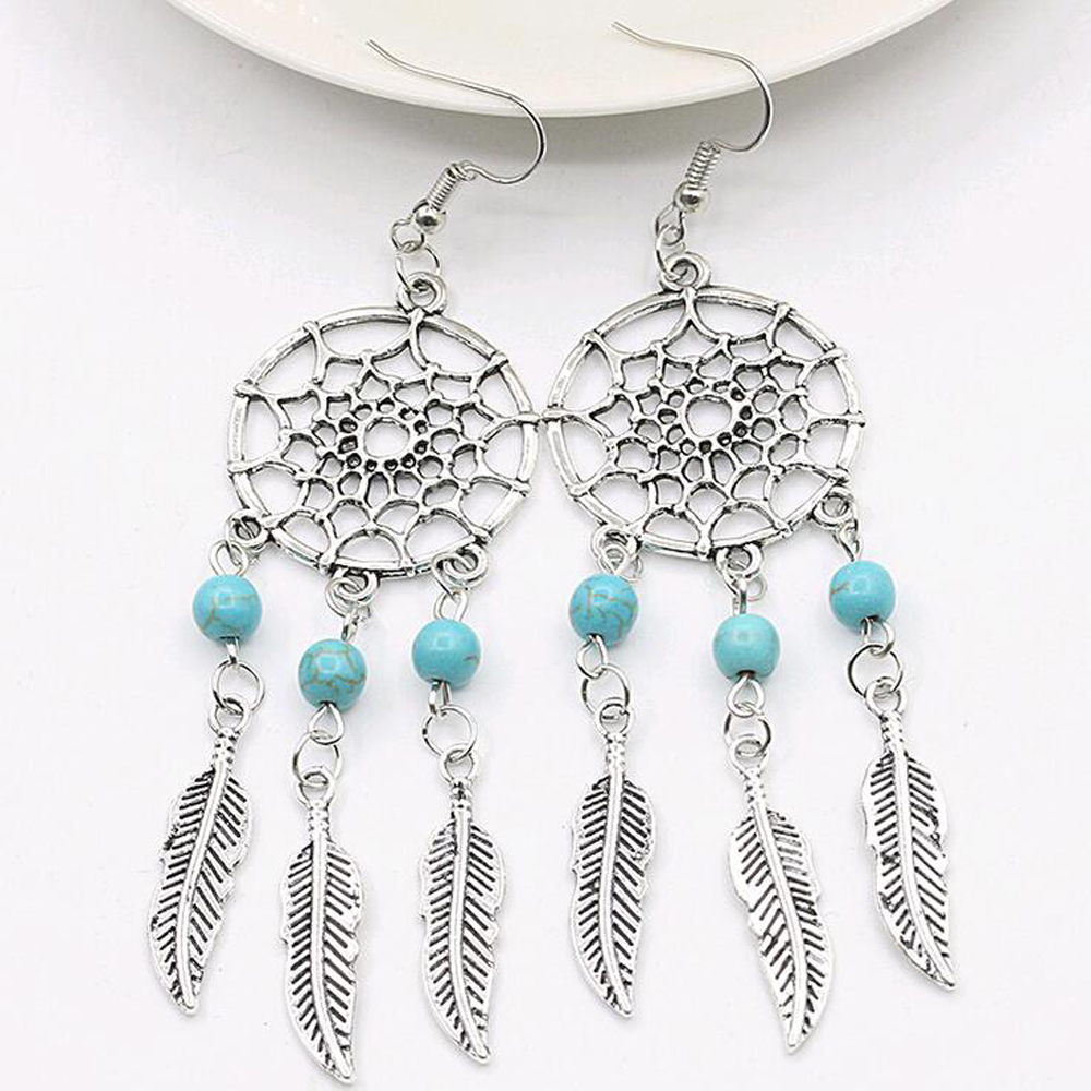 FAMSHIN 2016 New fashion jewelry vintage silver plated Dream catcher earring gift for women girl Free shipping