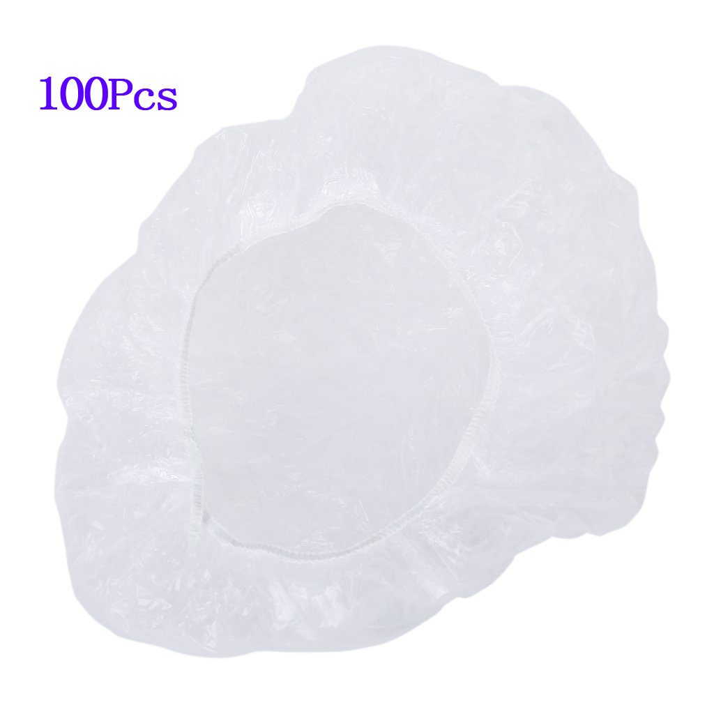 Botique 100pcs bonnets de douche de cheveux jetables et clairs pour salon spa