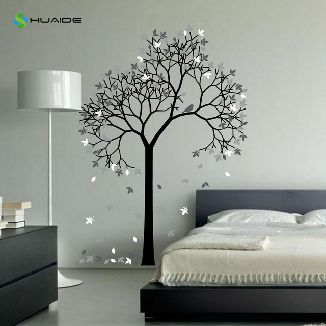 Huge Aspen Tree Wall Decal Forest With Bird And Leaves Vinyl Sticker Removable Nursery