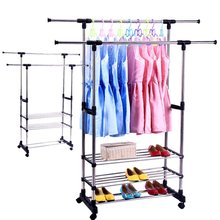Portable Double Rods Clothes Rack Adjustable Garment Rack -with Wheels 3 Tiers Storage Shelves