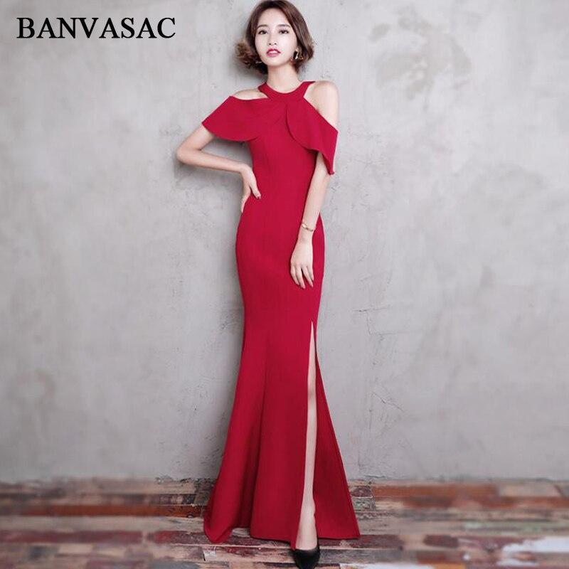 BANVASAC 2018 Vintage Halter Split Satin Mermaid Long   Evening     Dresses   Party Short Sleeve Zipper Back Prom Gowns