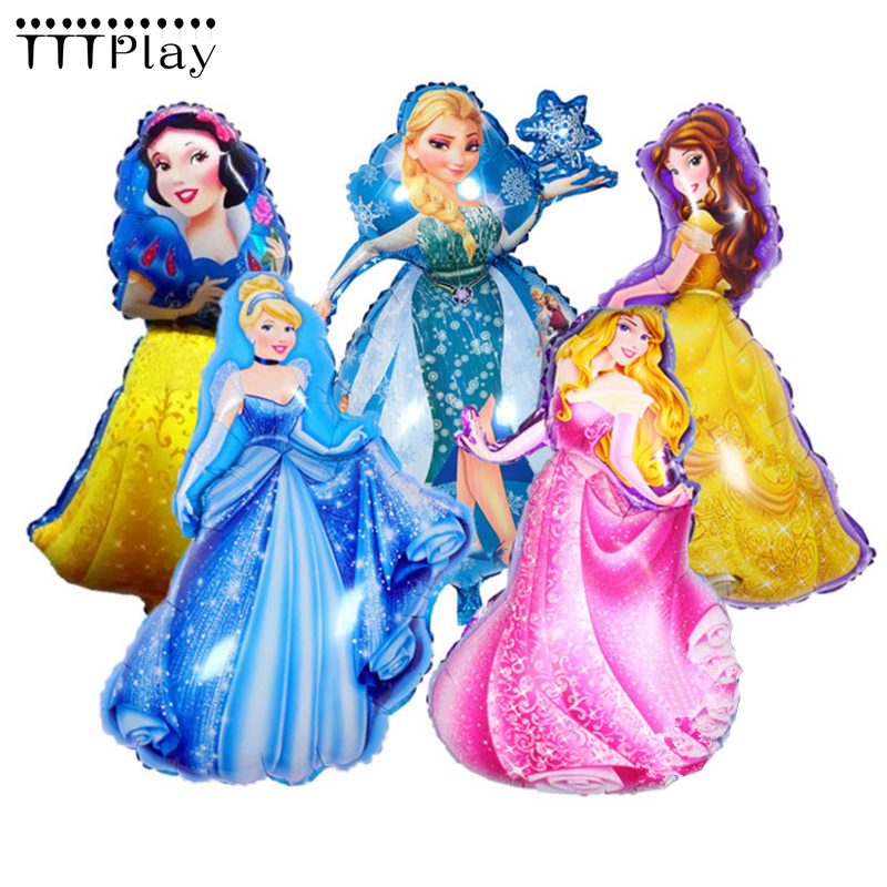 93*55cm Large Belle Aurora Cinderella Snow White Elsa Five <font><b>Princess</b></font> Foil Balloons Baby Birthday <font><b>Party</b></font> Decoration Helium Balloons image