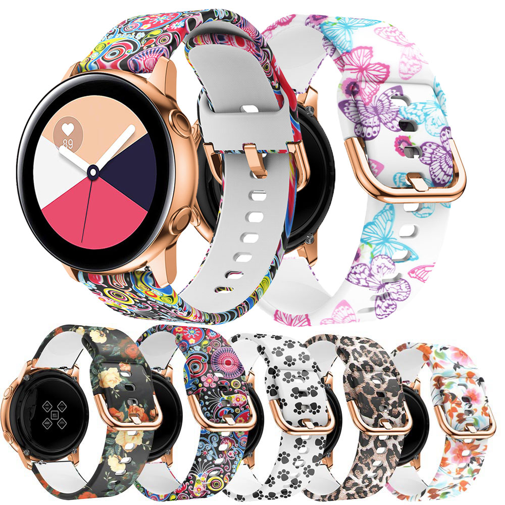 20mm Silicone Band For Samsung Galaxy 42mm Active Watch Gear Sport Band Flower Printing For Samsung Replacement Bracelet Strap