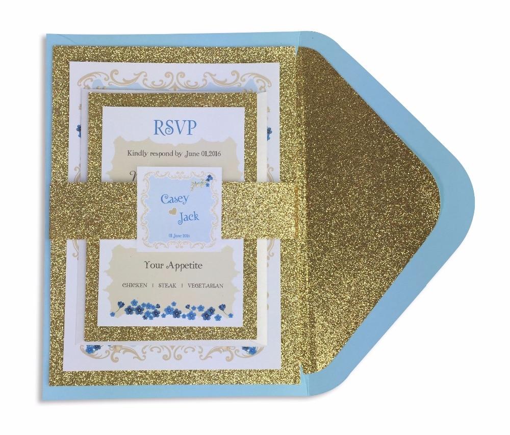 30ks / lot glitter liner obálka s pozlacením zdobeným zlatem a sadou RSVP (včetně břišní pásky a štítku)
