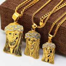 gold color Iced Out Lab Simulated Mini Micro Jesus Piece Pendant Necklace men Cuban Chain Hiphop Necklace(China)