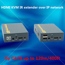Сети EDID + USB + IR + HDMI удлинитель 120 м через ethernet rj45 cat5e/6 кабель 1080 P HDMI клавиатура Мышь KVM extender по TCP IP