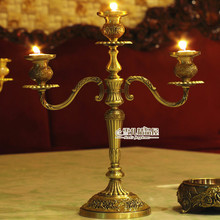 European bronze Candlestick candle dinner Wedding Candle Vintage props new alloy electroplating