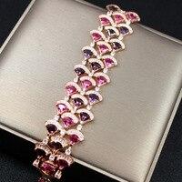 Роскошный дизайнерский Модный сверкающий розовый цвет элегантный женский браслет Шарм