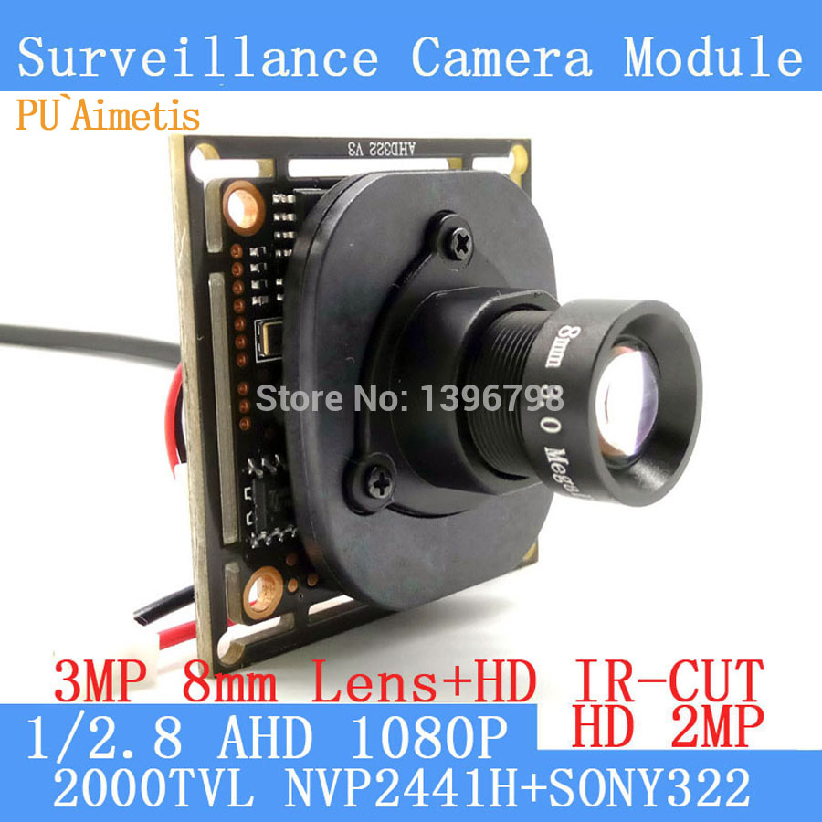 PU`Aimetis 2.0MP 1920*1080 AHD 1080P Surveillance Camera Module,1/2.8 SONY IMX322 PCB Board+3MP 8mm Lens ODS/BNC Cable 1200tvl ahd camera module 960p 1 3mp cctv pcb main board nvp2431h t151 3mp12mm lens ir cut surveillance cameras ods bnc cable