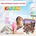 60 pçs/set dos desenhos animados de madeira Puzzle brinquedos para crianças de alta qualidade brinquedos do bebê educacional Jigsaw Puzzles brinquedos com pacote de caixa de ferro